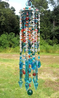 Mediterranean Sunset Antique Crystal Wind Chime by sheriscrystals