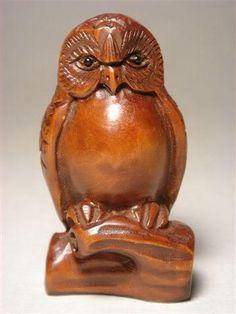 Rare Japanese Wooden Carved Boxwood Night Owl Netsuke