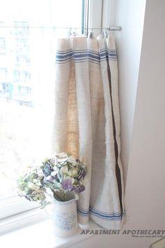 Vintage linen grain sack cafe-style curtain