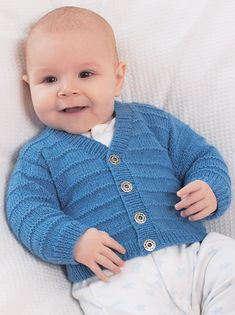 Moss and Garter Stitch Cardigans in Sirdar Snuggly 4 ply - 1373 Crochet Baby Mittens, Baby Cardigan Knitting Pattern Free, Baby Boy Knitting Patterns, Baby Sweater Patterns, Knitting For Kids, Baby Patterns, Free Knitting, Booties Crochet, Knitting Needles