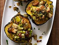 Baked Acorn Squash stuffed with chestnut and apples!
