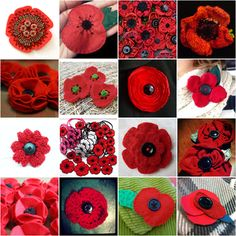 Poppies and buttons, well this gives me a few years of options to make poppy pins for remembrance day. Knitted Poppies, Knitted Flowers, Felt Flowers, Diy Flowers, Fabric Flowers, Paper Flowers, Crochet Poppy, Poppy Craft, Poppy Pattern
