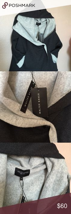 Walter Baker jacket size M black and gray. This is beautiful  jacket with hoody and 2 pockets in front  and one button for closer. It's  comfortable and warm in this cold winter. W118 by Walter Baker Sweaters Shrugs & Ponchos