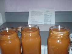 Caramel Sauce from that cooking chick  4 cups brown sugar 1 1/2 cups corn syrup 1/2 lb salted butter 3/4 cup cold water 300 ml sweetened condensed milk  Mix sugar, syrup, and butter over medium heat in saucepan. As soon as it starts to boil stir constantly for eight minutes. Remove from heat. Add water in 3 intervals, 1/4 cup at a time, stirring well after each addition. Add sweetened condensed milk. Stir until well blended. Pour into sterilized canning jars and place lids on.