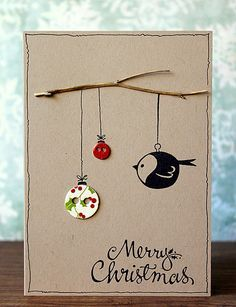 Take your creative skills to the next level with these unique homemade Christmas cards.See more ideas about DIY Christmas Cards Quick And Easy To Make . Homemade Christmas Cards, Christmas Art, Homemade Cards, Button Christmas Cards, Beautiful Christmas, Xmas Cards To Make, Christmas Ideas, Diy Holiday Cards, Christmas Decorations
