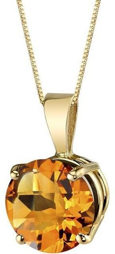 Ice 14K Yellow Gold Round Cut 1.75 Carats Citrine Pendant