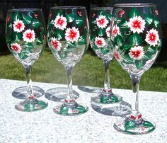 Hand Painted Wine Glasses With Red Flowers And Wine Glass Charms, Anniversary…