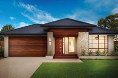 Like the garage door colour and entry with path across front. Also like the stone work column and garden near bed window. Modern Bungalow House, Modern House Plans, Modern House Design, House Paint Exterior, Exterior Design, Pavillion, Beautiful House Plans, Home Building Design, House Entrance