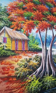 Képtalálatok a következőre: flamboyant painting Colorful Paintings, Beautiful Paintings, Beautiful Landscapes, Tropical Home Decor, Tropical Houses, Art Haïtien, Haitian Art, Caribbean Art, Large Painting