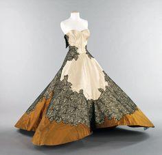 Flower evening dress, silk, 1946.