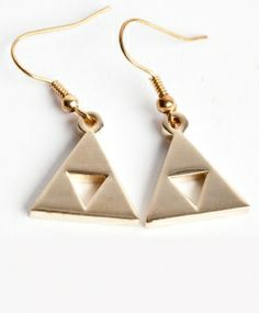 Triforce earrings. Legend of Zelda. These are actually really cute c: