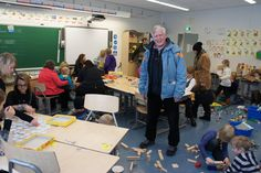 Finland. Aurora school. Classroom with space for play and disorder. Principal Martti Hellström present.