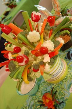 veggie flowers, this is such a fun idea!  Try with pumpkin as base for fall.