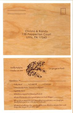Create unique custom wooden reply cards for your wedding Invite, Invitations, Price Quote, Fort Collins, Wood Species, Bamboo Cutting Board, Weddingideas, Place Cards, Create