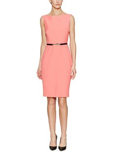Belted Sheath Dress with Scalloped Neckline from Ava & Aiden Apparel on Gilt