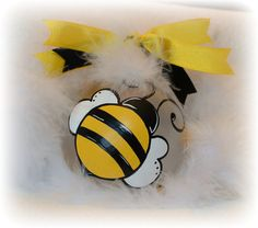Personalized Bumble bee Christmas ornament Hand Painted glass ball