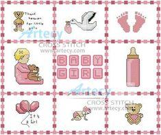 Baby Girl Sampler cross stitch pattern.