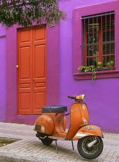 Vespa against a brilliant magenta backdrop