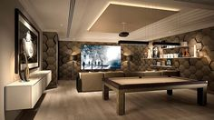 Another beautiful cinema room. Full of boys toys and using our Boston sofa range and Compass pool table.