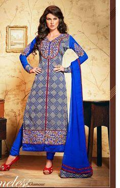 USD 58.38 Purple Cotton Resham Work Designer Salwar Suit 30164
