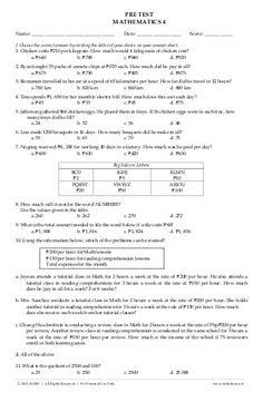 K TO 12 GRADE 4 DIAGNOSTIC / PRE TEST IN MATHEMATICS