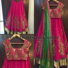 Pure Georgette lehenga with gold silk border, followed by sequins and stone work green out lined border. Maggam work rose floral motifs h...