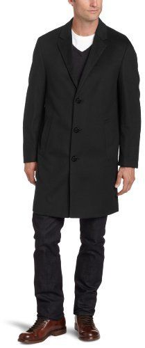 $350, Black Overcoat: Kenneth Cole Moretti Topcoat. Sold by Amazon.com. Click for more info: http://lookastic.com/men/shop_items/11234/redirect