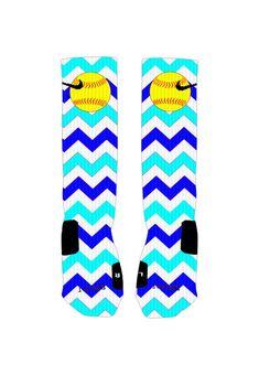 Custom Softball Socks Blue Chevron Stripe by ShopElevateGear