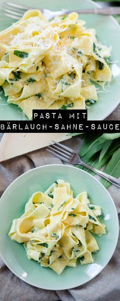 Pasta with wild garlic cream sauce - big wild garlic love- Pasta mit Bärlauch-Sahne-Sauce – große Bärlauchliebe Pasta with wild garlic cream sauce – www. Shrimp Recipes, Salmon Recipes, Pizza Recipes, Grilling Recipes, Lunch Recipes, Vegetarian Recipes, Dinner Recipes, Healthy Recipes, Vegetarian Lunch