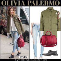 Olivia Palermo in green embroidered jacket, ripped jeans and black shoes New York July 24 2017 Cargo Jacket Outfit, Comfortable Outfits, Casual Outfits, Military Looks, Olivia Palermo Style, Embroidered Jacket, Denim Fashion, Women's Fashion, Fashion Trends