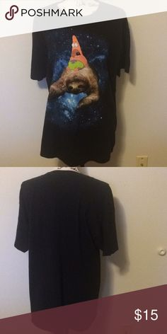 Patrick Star/Sloth/Galaxy Hot Topic Top LG What's better than Patrick Star riding a sloth through a galaxy? The correct answer is nothing! This amazing unisex shirt is perfect for the lover of any of the above mentioned. Great condition. Size Unisex large. Hot Topic Tops Tees - Short Sleeve