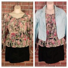 Sunny Leigh sheer pink green grey print blouse L $10; Faded Glory black corduroy skirt 12 $10; Halogen tiffany blue blazer L $10