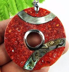Beautiful unique red abalone shell conch round pendant bead Vk2480