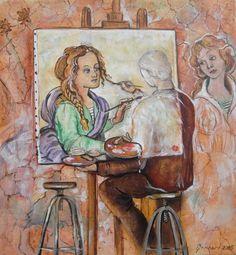 Muses copiant le copiste - Muses copiant le copiste (Peinture),  25x26 cm par Christian    Eprinchard peinture aquarelle copiste Louvre