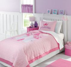 Princess Castle Girls Pink Cotton Twin Quilt & Sham Set, NEW!