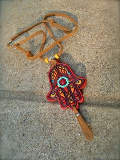 red HAMSA hand NECKLACE Fatima HAND necklace Gypsy protective jewelry