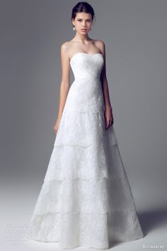blumarine wedding dresses 2014 strapless bridal gown tiered lace skirt