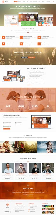 Frexy is Premium full Responsive HTML5 Multipurpose Template. Parallax Scrolling. Retina Ready. Video Background. One Page. http://www.responsivemiracle.com/cms/frexy-premium-responsive-multipurpose-html5-template/