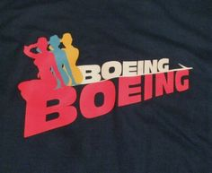 Did you see the musical Boeing Boeing on #Broadway in 2008-2009? Did you miss it but love the stars Mark Rylance  Christine Baranski  and Gina Gershon? Show your love with this  Boeing Boeing Mens (unisex) T Shirt Small with the show logo on front!