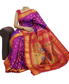 Purple red Pure Authentic Paithani Silk Saree