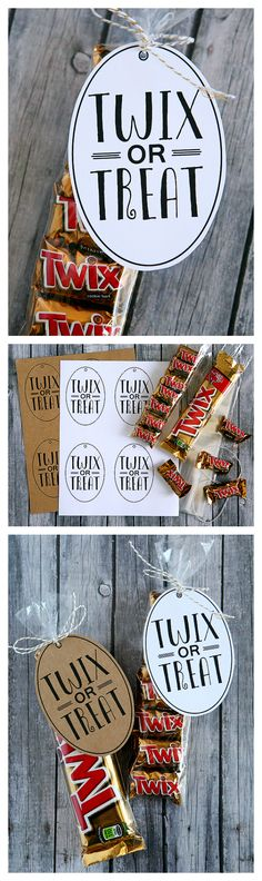 Twix or Treat | Halloween Treat Ideas. Some people say trick or treat but for those of us that love Twix, we say it a little different. Twix or Treat! Plus, these sure make a cute Halloween gift for the kid's teachers, friends and neighbors!