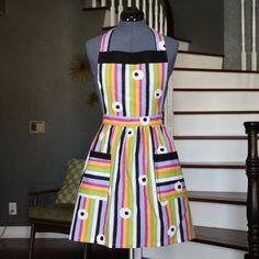 Womens Aprons - Aprons for Women, Multi Color Apron with Pockets, Vintage Fabric Handmade Aprons, Retro Apron, Kitchen Apron, Maria Apron