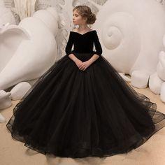 01da489ec4b Ball Gown Flower Girl Dresses black Vestidos De Comunion Pageant dress  Recital Graduation Dress First Communion Dresses