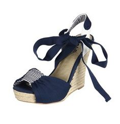 These lovely wedges from Seychelles feature a bow-like detail over the toe and a tying detail at the ankle. A espadrille wedge heel and a platform lend height to these stylish open-toe wedges. Platform Wedge Sandals, Wedge Heels, Espadrille Wedge, Navy Wedding Shoes, Thing 1, Shoe Deals, Shoes Outlet