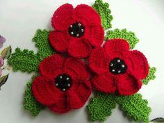 Crochet Poppy flowers - no pat but pretty easy to figure out. Beau Crochet, Crochet Poppy, Cotton Crochet, Love Crochet, Beautiful Crochet, Irish Crochet, Knit Crochet, Knitted Poppies, Knitted Flowers