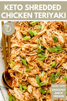 Easy and delicious Keto Shredded Chicken Teriyaki that's perfect for meal prep or a quick weeknight family dinner. Serve it with cauliflower rice and steamed veggies or in a butter lettuce cup. Keto, Paleo, and Healthy! Crockpot and Instant Pot version. #ketorecipes #instantpotrecipes #crockpotrecipes #glutenfree #dairyfree #paleorecipes #paleo #keto Best Paleo Recipes, Lunch Recipes, Asian Recipes, Dinner Recipes, Crockpot Recipes, Favorite Recipes, Primal Recipes, Cooker Recipes, Summer Recipes