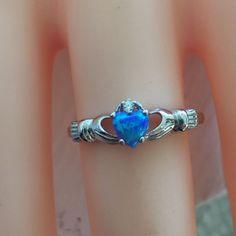Saleblue Opal Irish Claddagh Ring