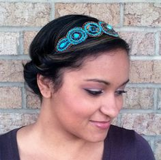Turquoise Bohemian Headband measures 19 inches in circumference with an elastic headband that is super comfortable and so easy to wear.   Wearing this hairband is the ultimate way to sparkle and shine. Looks absolutely amazing!  All you have to do is place headband on the top of your head like a crown, twist your hair around and tuck it under the elastic...continue until all hair is up in a bun. Complete up do in 3 minutes flat!!! Wear as a side pony Wear as a messy bun Wear as a headpiece