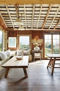 Use recycled wood for walls & floors without stripping it of its character and patina. Patch holes in the original floor with tin scraps...further dissecting the charm factor.