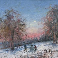 Tina MORGAN - Building a Snowman British art and paintings from the www.redraggallery.co.uk